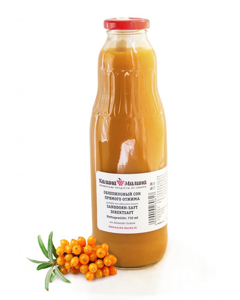 Sibirischer Sanddorn-Direktsaft 750 ml  -  Облепиховый сок прямого отжима